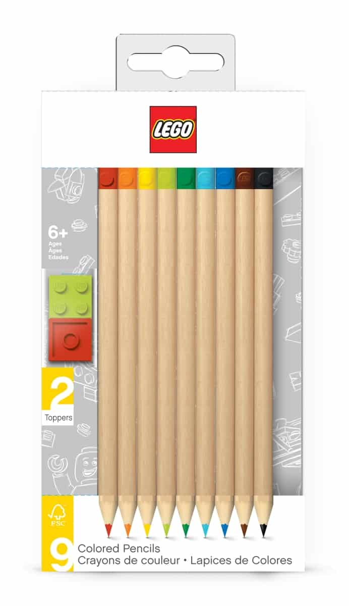 lego 5005148 9 pack colored pencil with toppers pack