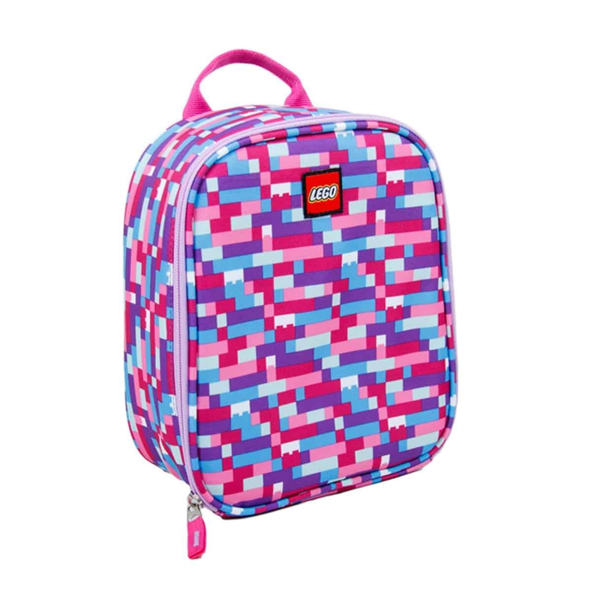 lego 5005354 pink purple brick print lunch bag