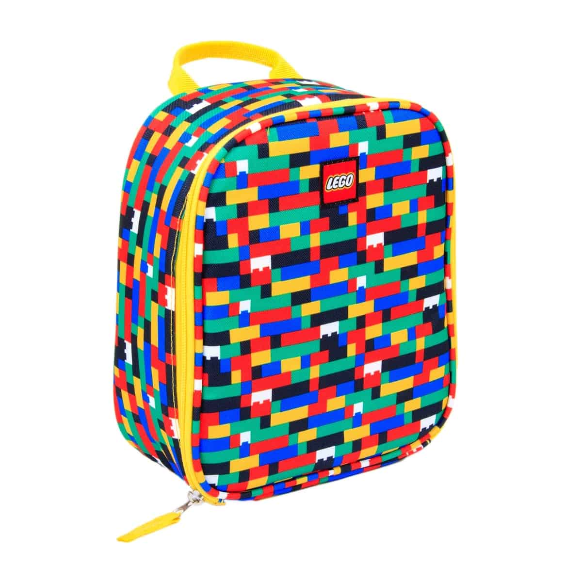 lego 5005355 red blue brick print lunch bag