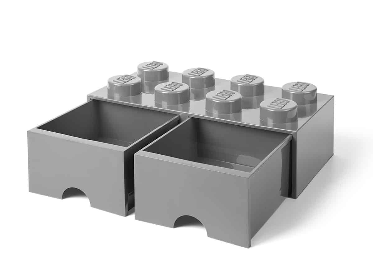 lego 5005720 8 stud medium stone gray storage brick drawer