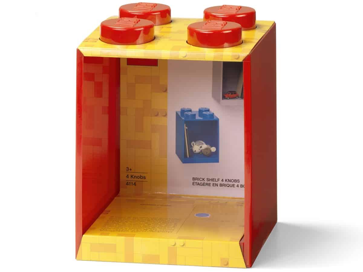 lego 5006587 brick shelf 4 knobs bright red