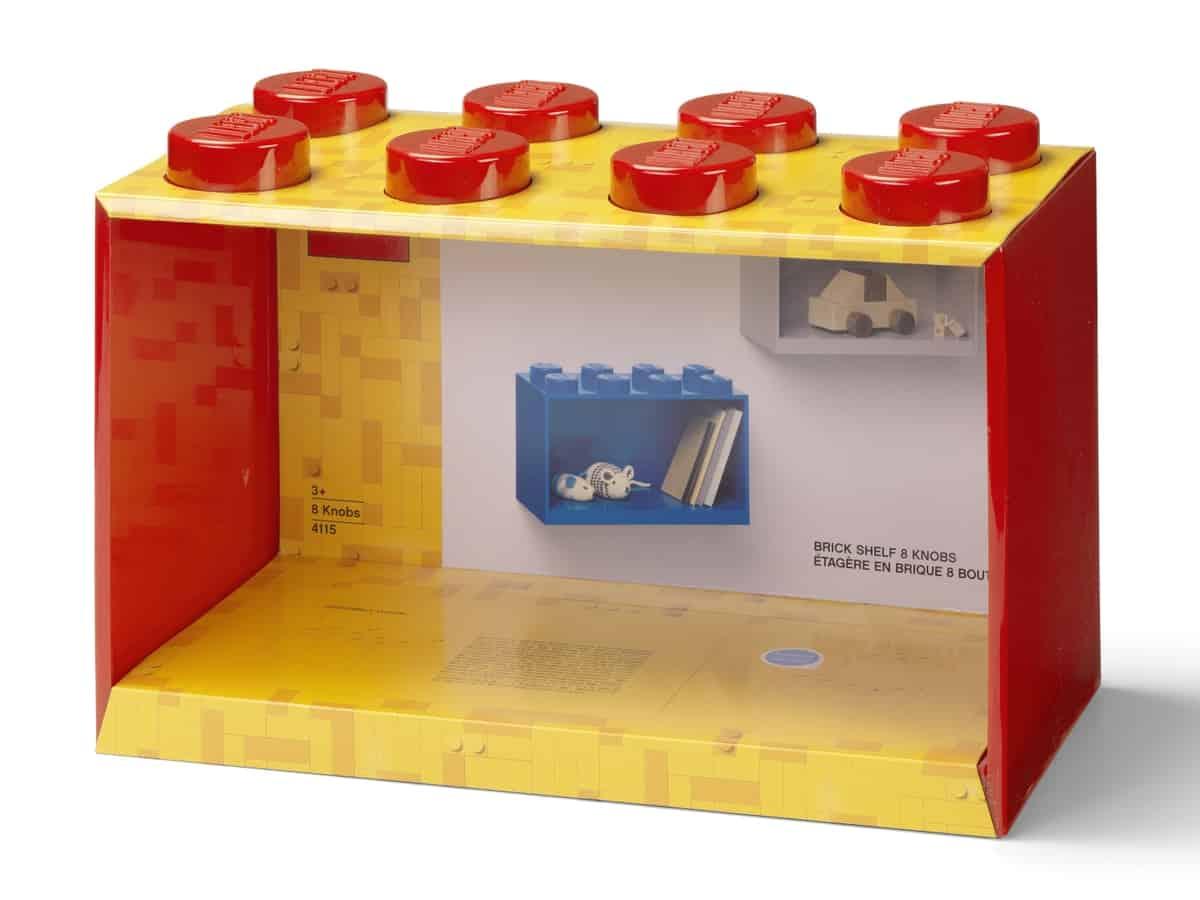 lego 5006589 brick shelf 8 knobs bright red